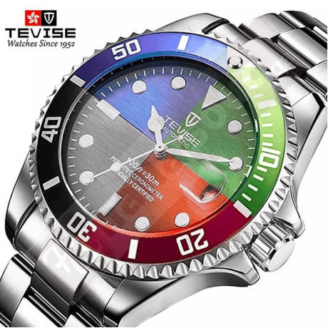 Tevise 801 Men's Mechanical Watch with Date - Black Red