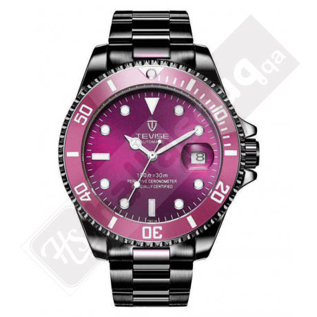 Tevise 801 Men's Mechanical Watch with Date - Black Purple
