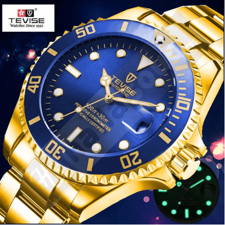 Tevise 801 Men's Mechanical Watch with Date - Two tone Blue