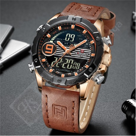 NAVIFORCE NF 9146L Luxury Brand Genuine Leather Men's Watch - Dark Brown Rose Gold