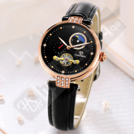 Forsining FRS 8211 Womens Automatic Watches With Moon Phase & Leather Band Rose gold Black