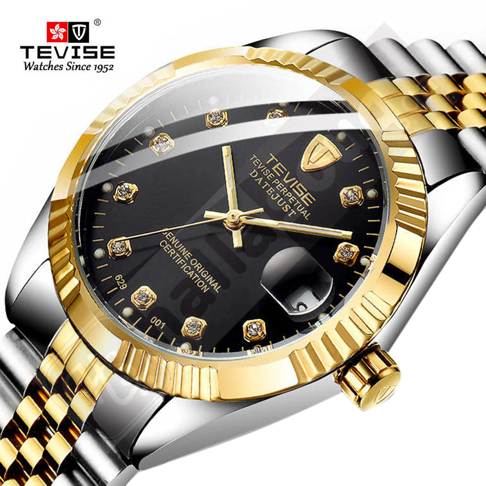 Tevise T629 luxury brand automatic Men Watch - Silver Black