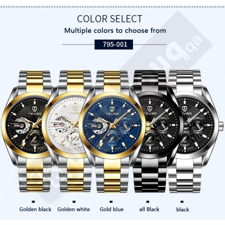 Tevise T795-002 Automatic Mechanical  Stainless steel Watch - Two Tone Blue